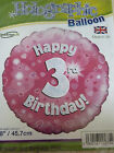 "Pink Assorted 3rd Birthday 18"" Foil Balloons"