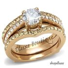 2.10 CT ROUND CUT CZ ROSE GOLD IP WEDDING ENGAGEMENT RING SET WOMEN'S SIZE 5-10
