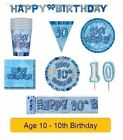 AGE 10 - Happy 10th Birthday BLUE GLITZ - Party Balloons, Banners & Decorations