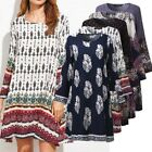 ZANZEA Women Vintage Long Sleeve Floral Print Loose Casual Mini Dress Top Shirt