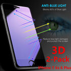 2x3D Full Coverage Blue Ray Tempered Glass Screen Protector Fr iphone 6 6s 7 8 X