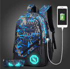 Student Fashion Bag Men USB Interface Charge Backpack Leisure Travel Bag Cool