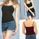 Women Backless Spaghetti Strap Hollow Out Solid Casual Cami Tops T- Shirt N98B