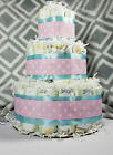 3 Tier Diaper Cake - Blue Pink and White Gender Reveal Cake Polka Dot