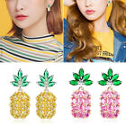 925 Sterling Silver Crystal Pineapple Fruit Cute Stud Earrings