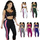 2 Pieces Women's Crop Top and Pants Suits Outfits Party Club Bodycon Jumpsuit