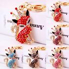 Cute Foxy Fox With Crown Handbag Keyring Clear Diamante Rhinestone Bling New MZZ