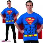 MENS SUPERMAN T-SHIRT TOP WITH CAPE DC COMIC BOOK SUPERHERO FANCY DRESS COSTUME