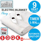 Electric Blanket Fleecy Fully Fitted LED Heated Single Double King Queen Bed New