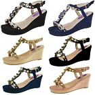 Ladies Faux Suede Wedge High Heels Summer Jewel Wedges Womens Party Sandals Size