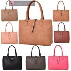 NEW WOMENS HIGH QUALITY PU MATERIAL QUILTED BUCKLE DETAIL TOTE SHOULDER BAG