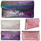 NEW LADIES HOLOGRAPHIC CHAINMAIL ENVELOPE PARTY CLUTCH BAG PURSE