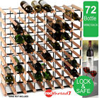 Timber Wine Rack 72 Bottle Wood Steel Cellar Organiser Stand Vintry Collection