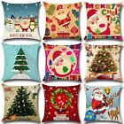 Christmas Theme Cotton Linen Pillow Cases Vintage Sofa Waist Throw Cover 97K