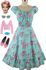 50s Style PLUS SIZE AQUA w/PINK Floral PINUP Peasant Top On/Off Shoulder Dress