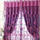 Semi Flowers Pattern Shade Sheer Curtains With Tulle Voile for Door Window