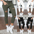 Hot Women Ripped Holes Capri-pants Pencil High Waist Pants Skinny Trousers