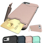 For iPhone 6S 7 8 Plus X XR Card Pocket Shockproof Slim Rugged Hard Case Cover