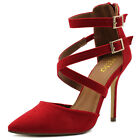 ollio Women Shoes Cross Strap Back Zipper Stiletto High Heel Faux Suede Pump