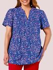 Woman Within NEW PURPLE FLORAL Pintuck Short Sleeve Blouse SIZES 18/20 to 42/44