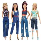 E-TING Casua Clothes Jumpsuits Denim Overalls Jacket Jeans for Barbie Doll Gift