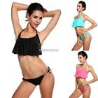 Hot Sexy Women Halter Neck Padded Top And Strings Bottom Swimsuit Bikini N98B