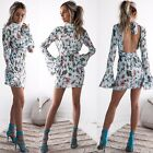 2017 Women Sexy Backless Floral Stand Club Vintage Elegant Female Mini Dress
