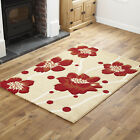 BEIGE RED FLOWERY DESIGN MODERN LARGE SMALL LOW COST QUALITY RUG RUG & RUNNER