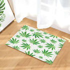 Natural Fabric Shower Curtain set Green leaves plant Bathroom Curtain with hooks