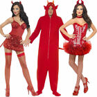 Halloween Devil Costumes Mens Womens Scary All in One Sexy Fancy Dress Outfit