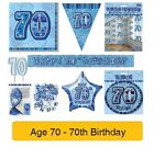 70 ANNI Happy 70th Birthday BLU ELEGANTE Gamma Festa,Striscioni & Decorazioni