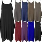 Womens Ladies Cami Strap Baggy Lagenlook Dress Loose Tulip Sleeveless Round Neck