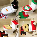 3pcs Santa Toilet Seat Cover Rug Bathroom Set Christmas Xmas Decoration N98B