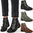 Womens Ladies Studded Flat Ankle Boots Strappy Biker Buckles Amelia New Size