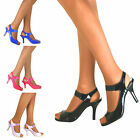 Ladies Patent Mid Stiletto High Heels Peep Toe Mary Jane Prom Court Shoes Size