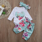 3pc Newborn Baby Girl Floral Clothes Jumpsuit Hairband Pants Outfit Xmas Costume