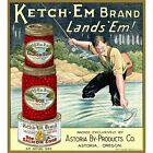 KETCH - EM BRAND ROE SALMON EGGS LABEL POSTER - FISHING POSTER -NEW