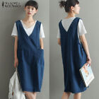ZANZEA Women Loose Casual V Neck Sleeveless Pocket Knee Demin Dress Plus Size
