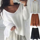 Women Long Sleeve Knitted Sweater V Neck Loose Casual Pullover Jumper Sweatshirt
