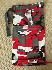 NWT Men's Regal Wear Red White Camouflage Camo Belted Cargo Shorts ALL BIG SIZES