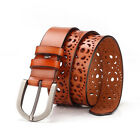 Women Ladies Stretch Buckle Waist Belt Wide Leather Elastic Hollowed Waistband