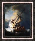 """Rembrandt The Storm on the Sea of Galilee Framed Canvas Print 22.5""""x27"""" (V18-04)"""