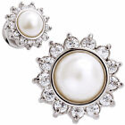 Ear Gauges Stainless Steel Pearl Center double saddle plugs with CZ gem burst