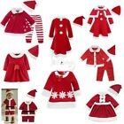 Xmas Baby Costume Boy Romper Girl Dress Outfit Hat Set Santa Cosplay Clothes New