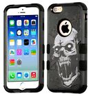 For iPhone 5/6/7/XS - Hybrid HARD & SOFT Rubber Armor Black Vampire Skull Case