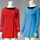 Cosplay Star Trek Female Duty TOS Blue&Red Uniform Dress Costume Suit Adult New on eBay
