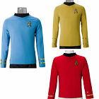 Cosplay Star Trek TOS Captain Kirk Shirt Uniform Classic Costume Red Blue Yellow