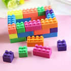 6pcs Coloured Building Brick Block Erasers Rubber Eraser For Students New