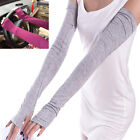 Soft Stretchy Long Sleeve Fingerless Gloves Cashmere Arm Warmers Sleeves hi