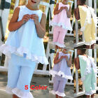 Summer 2PCS Kids Baby Girl Cute Bow Vest Tops + Shorts Pants Clothes Outfits Set